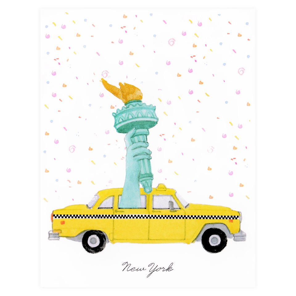Dear Hancock New York Taxi with Liberty Greeting Card