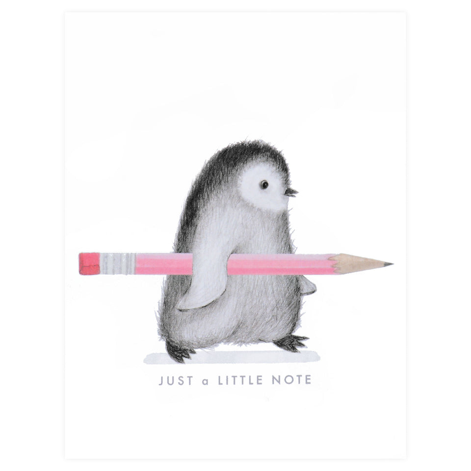 Dear Hancock Penguin With Pencil Greeting Card