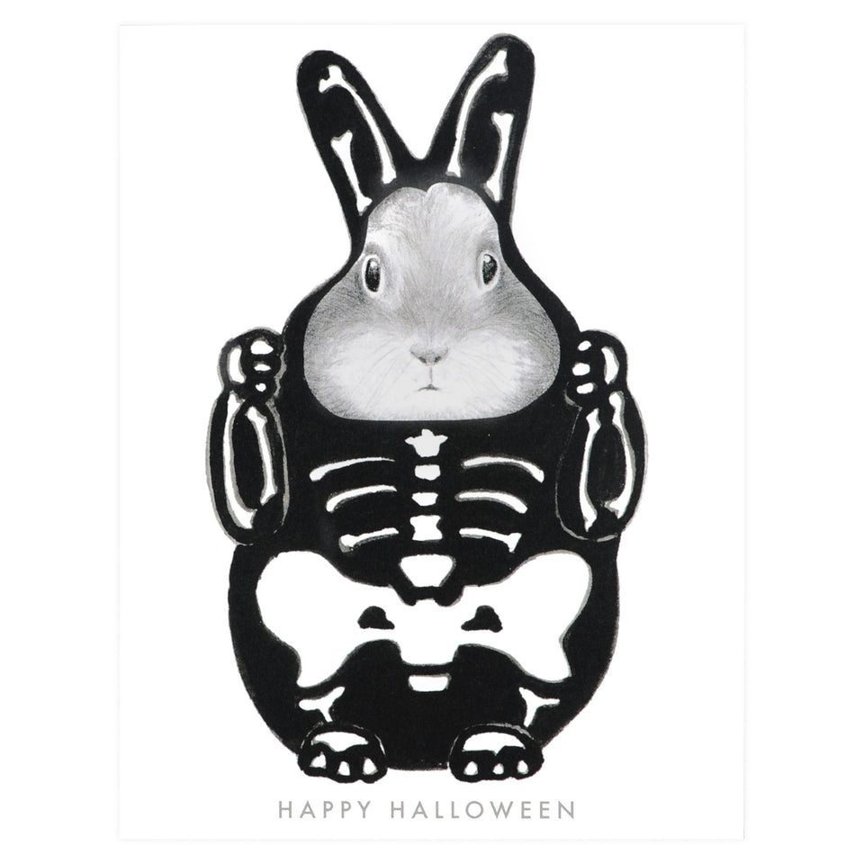 Dear Hancock Skeleton Costume Bunny Halloween Card