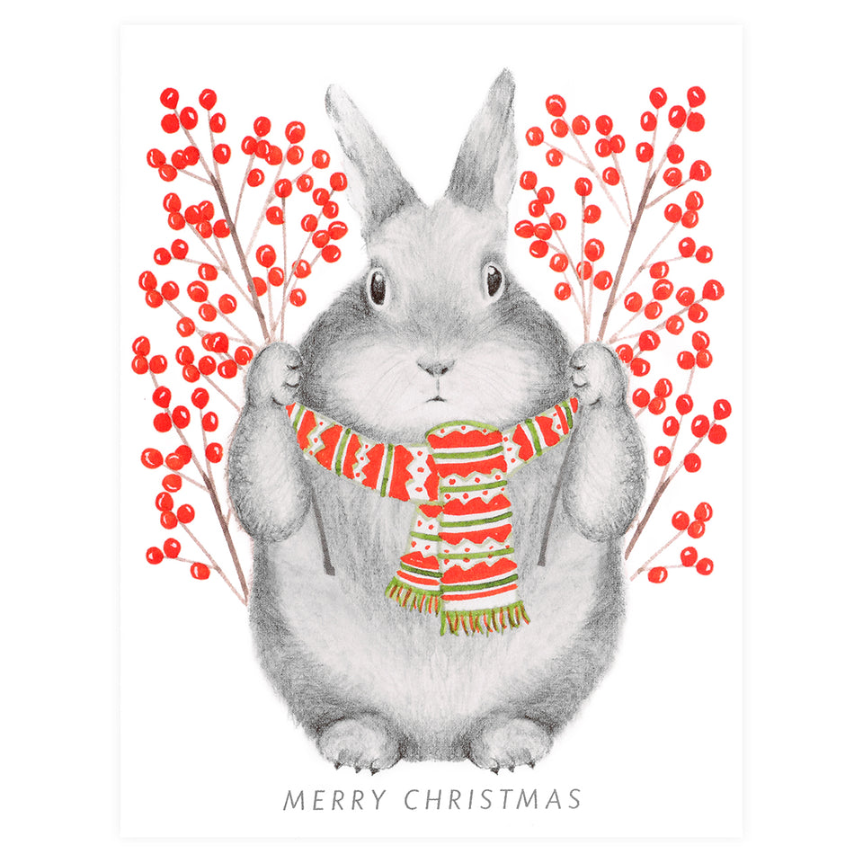 Dear Hancock Winterberry Bunny Christmas Cards Set
