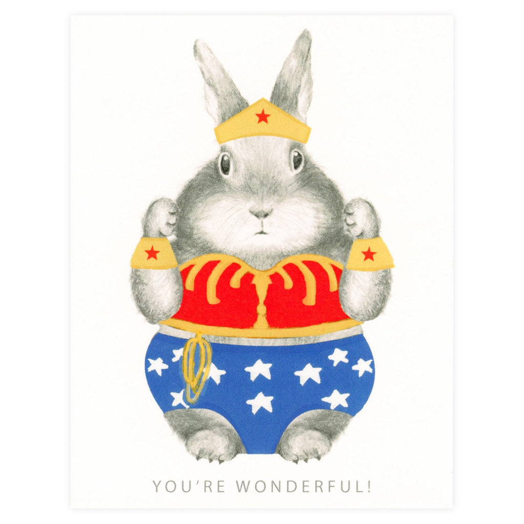Wonder Woman Bunny Greeting Card By Dear Hancock
