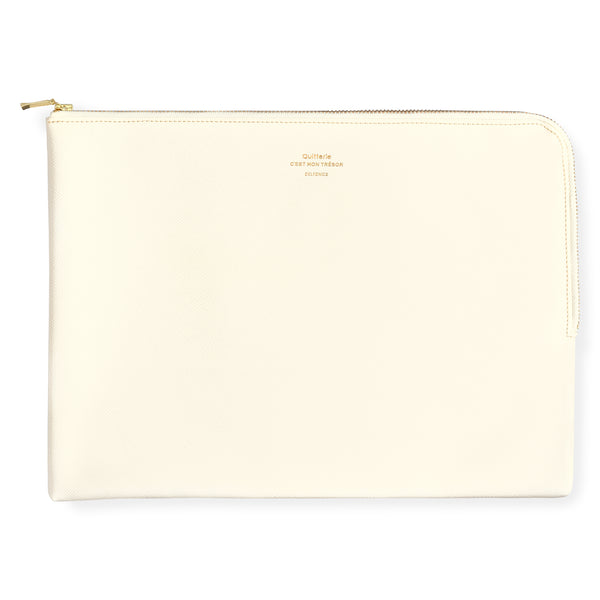 Delfonics Quitterie Large Zip Pouch Cream - GREER Chicago Online Stationery Shop