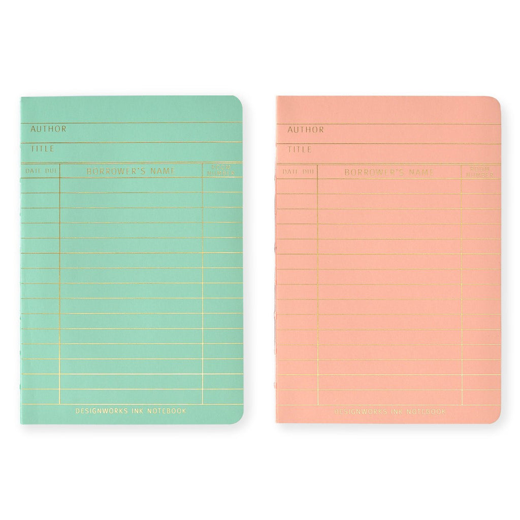 "Design Works Ink ""Library Cards"" Pocket Notebook Exposed Bound Set - GREER Chicago Online Stationery Shop"