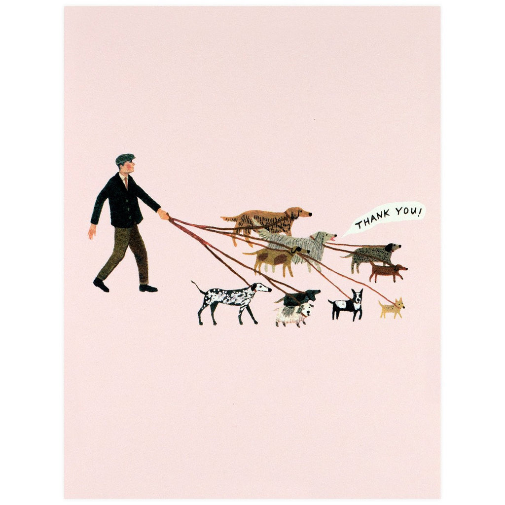 Red Cap Cards Dog Walker Card - GREER Chicago Online Stationery Shop