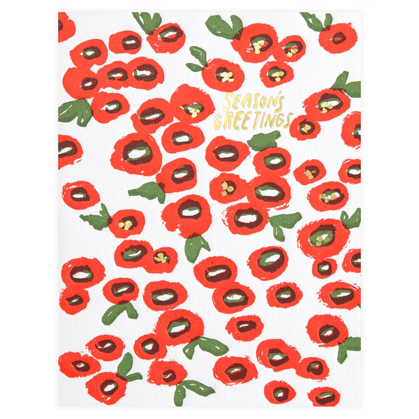 Berry Flower Season's Greetings Holiday Cards Boxed By Egg Press
