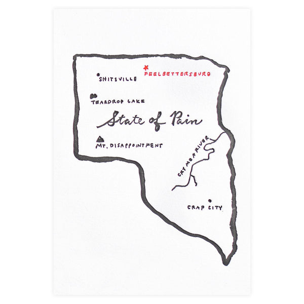 State of Pain Greeting Card By Egg Press