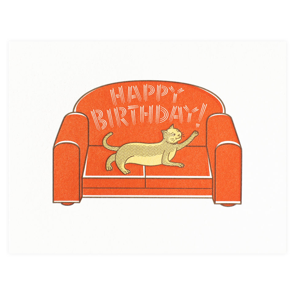 Fickle Hill Letterpress Cat On Sofa Birthday Card
