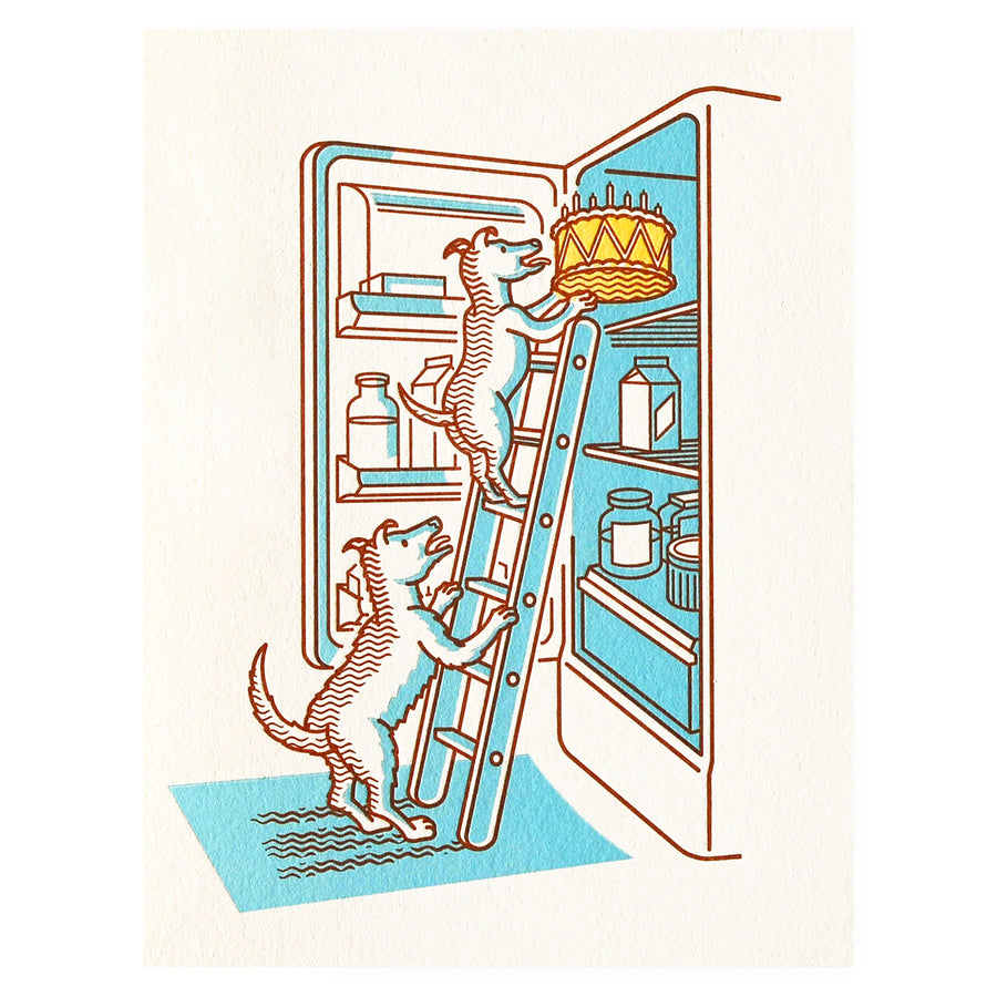 Fickle Hill Letterpress Dogs Stealing Cake Birthday Card