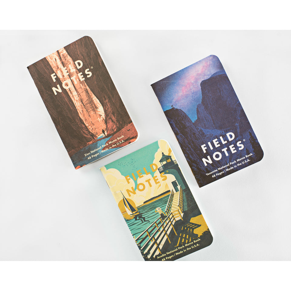 Field Notes National Parks Series A Set of 3 Notebooks | Yosemite, Acadia, Zion