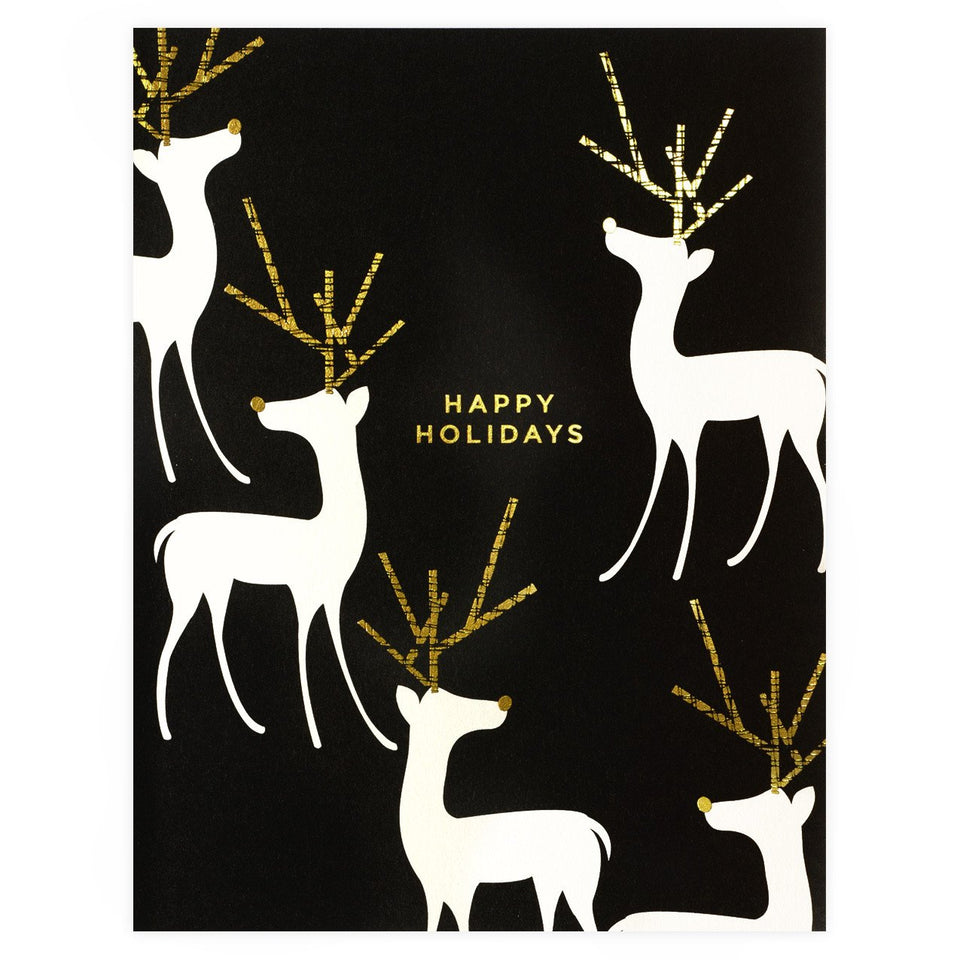 Snow & Graham Foil Reindeer Holiday Cards Boxed