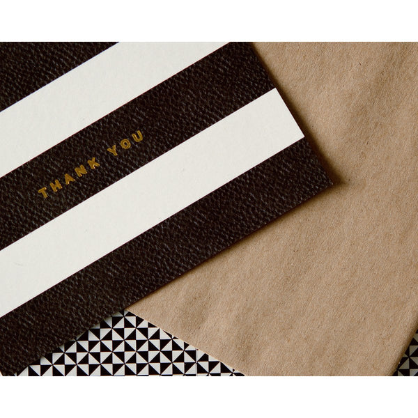 Foil Stripes Boxed Folded Thank You Cards - GREER Chicago Online Stationery