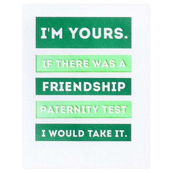 Friendship Paternity Test Card By Paper Bandit Press