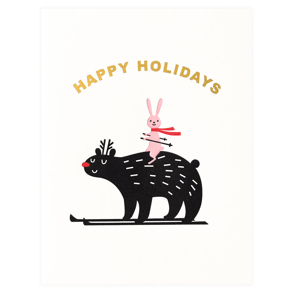 Fugu Fugu Bear Bunny Ski Holiday Cards Boxed