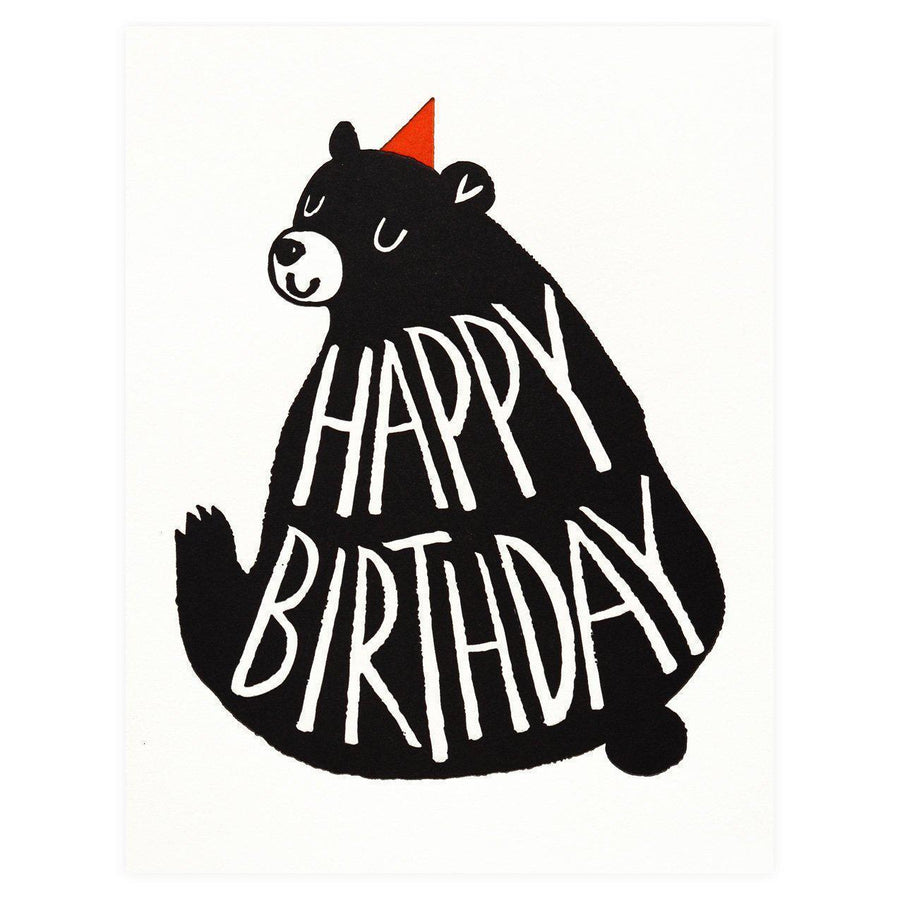 Fugu Fugu Birthday Black Bear Greeting Card - GREER Chicago Online Stationery Shop