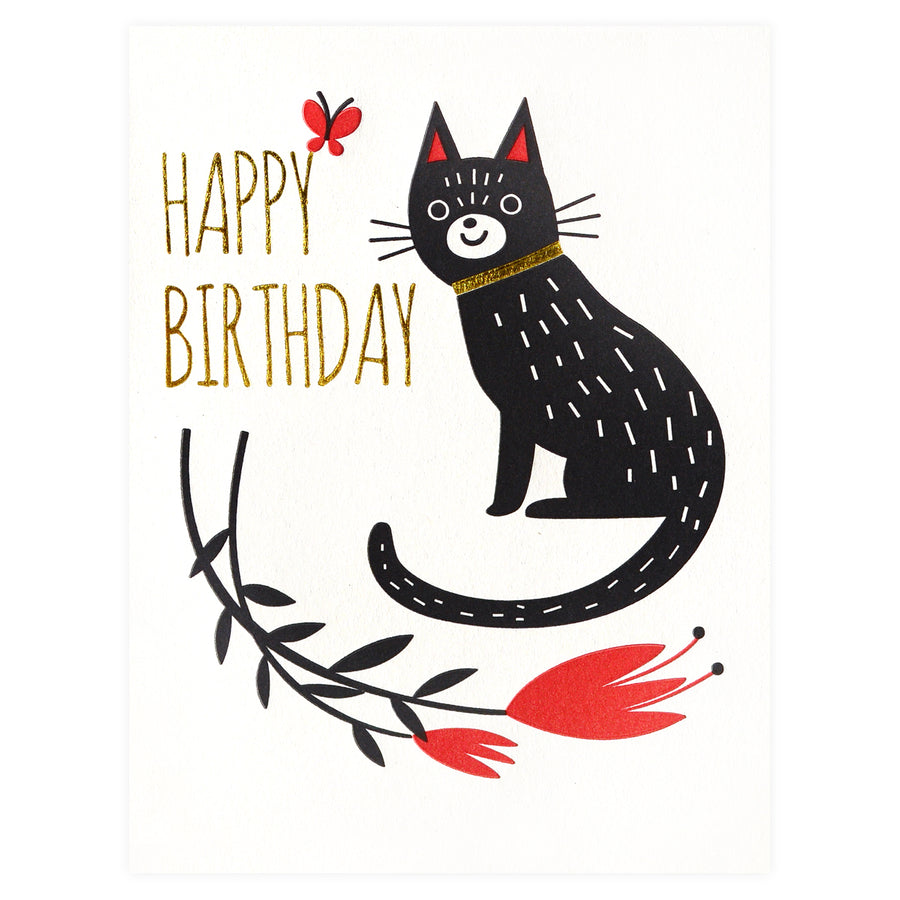 Fugu Fugu Birthday Flower Cat Greeting Card