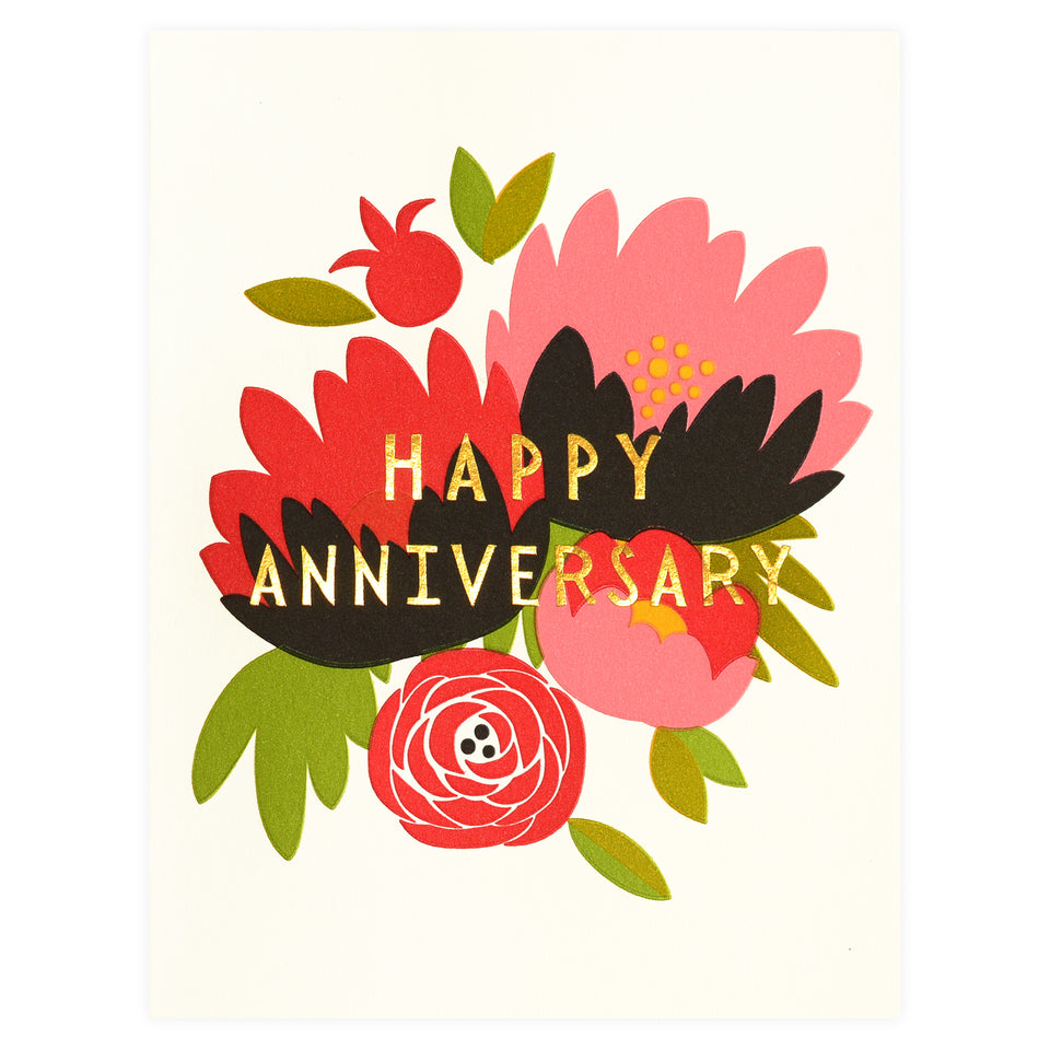 Fugu Fugu Happy Anniversary Bouquet Greeting Card