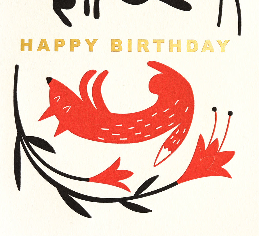 Fugu Fugu Birthday Bunny Fox Greeting Card - GREER Chicago Online Stationery Shop