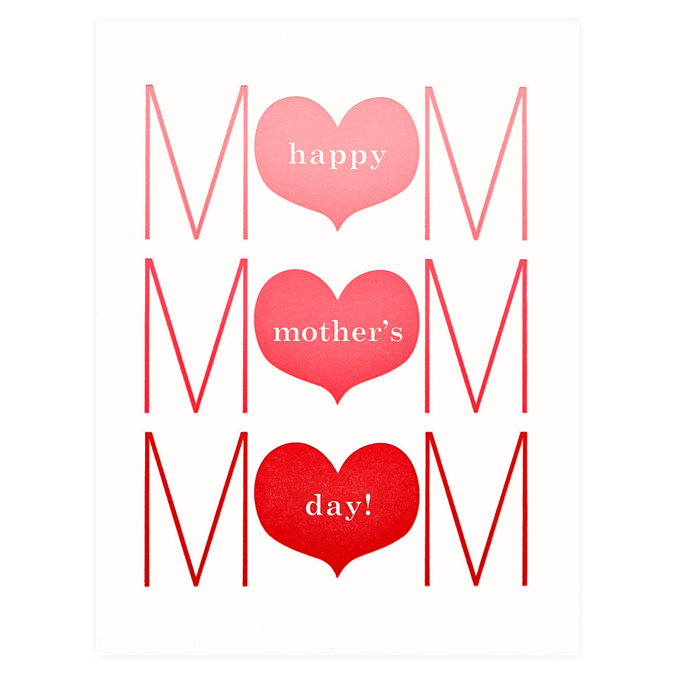 Fugu Fugu Mother's Day Three Hearts Greeting Card
