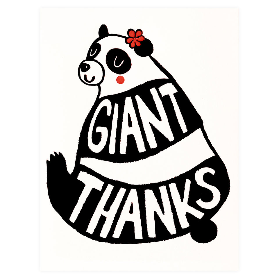 Fugu Fugu Giant Thanks Panda Folded Thank You Cards Boxed or Single