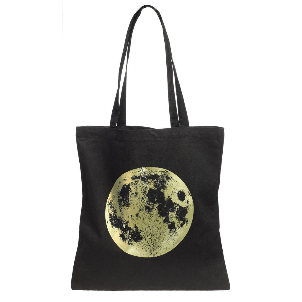 Black And Metallic Gold Full Moon Cotton Tote By Little Lark - 1