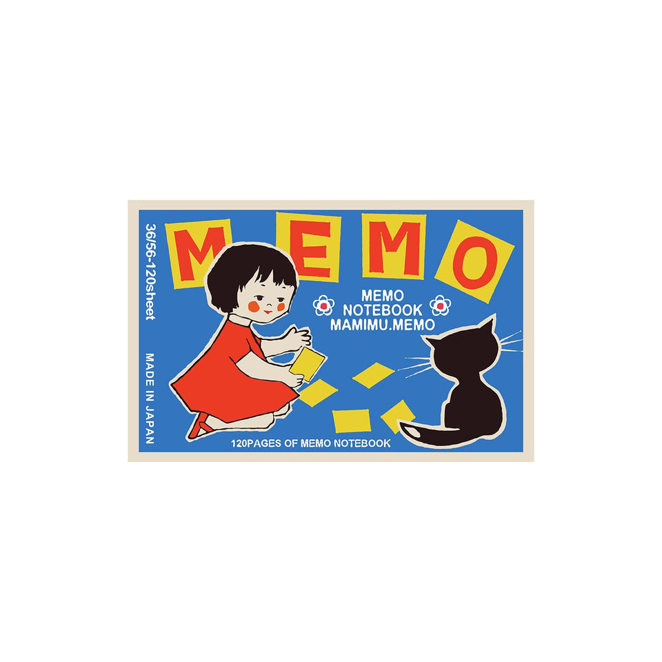 Shunkoen Mamimu European Vintage Matchbox Design Mini Memo Notebook | Eleven Designs Girl and Cat with Cards