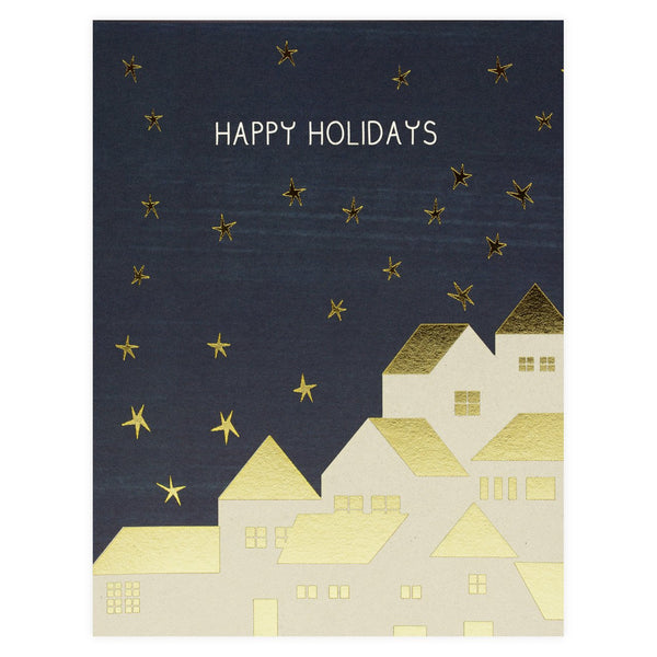 Gold Houses Holiday Boxed Cards By Red Cap Cards