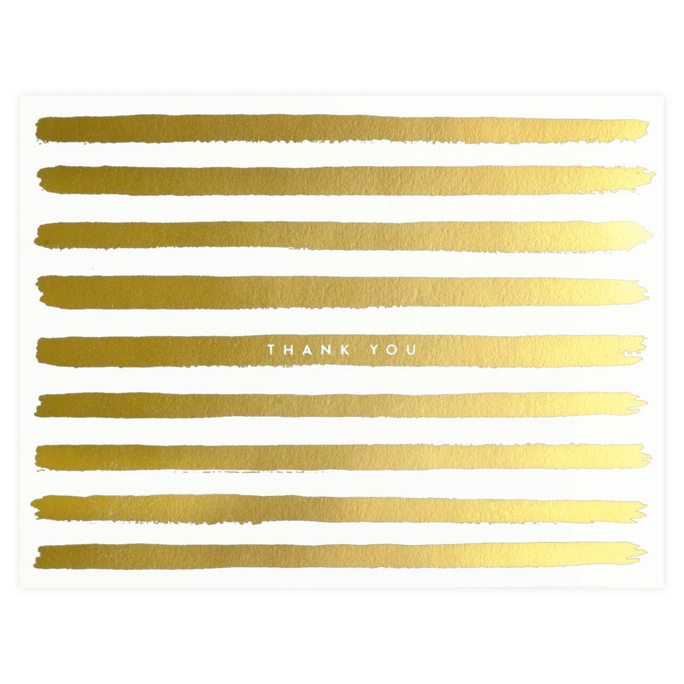 Rifle Paper Co. Gold Painted Stripes Boxed Folded Thank You Cards