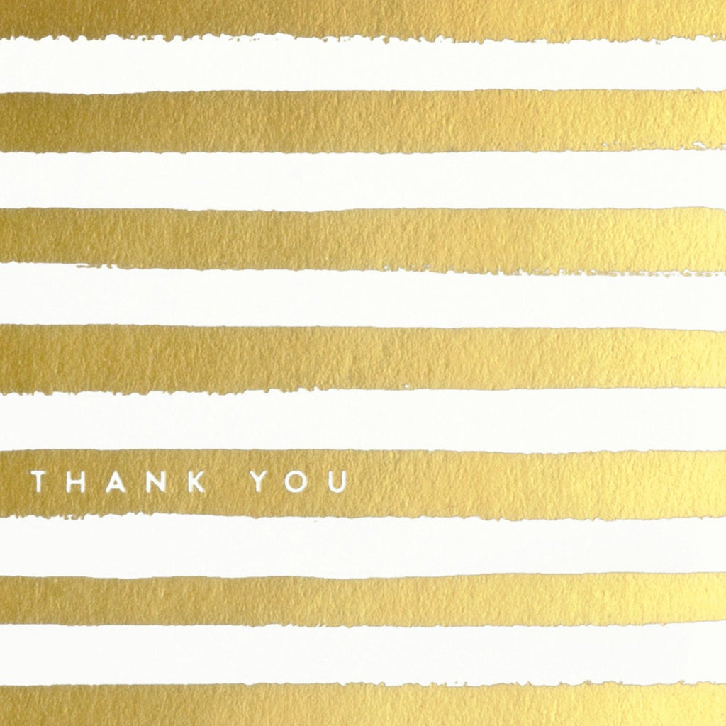 Gold Painted Stripes Boxed Folded Thank You Cards - GREER Chicago Online Stationery