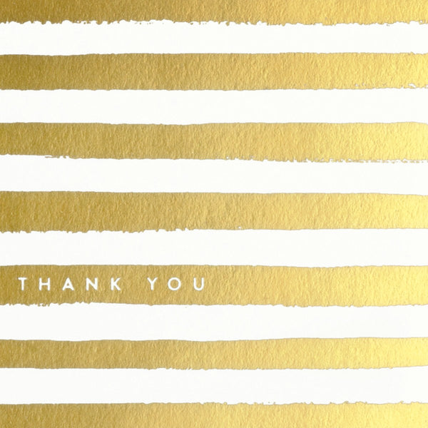 Rifle Paper Co. Gold Painted Stripes Boxed Folded Thank You Cards - GREER Chicago Online Stationery Shop