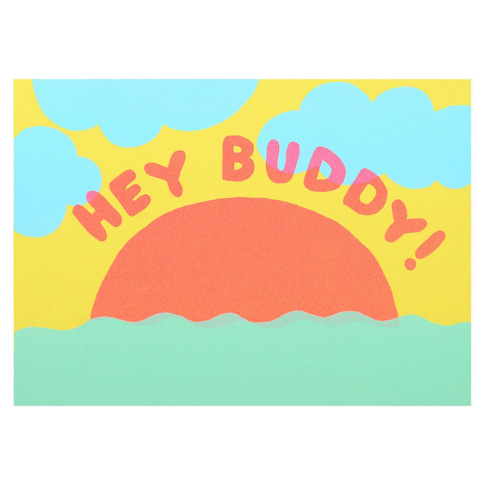 Hey Buddy Sunset Greeting Card