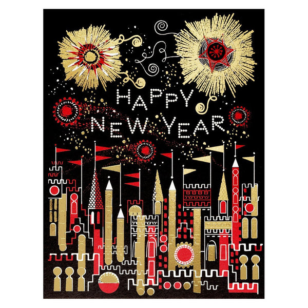 Golden Fireworks New Year Card By Red Cap Cards - 1