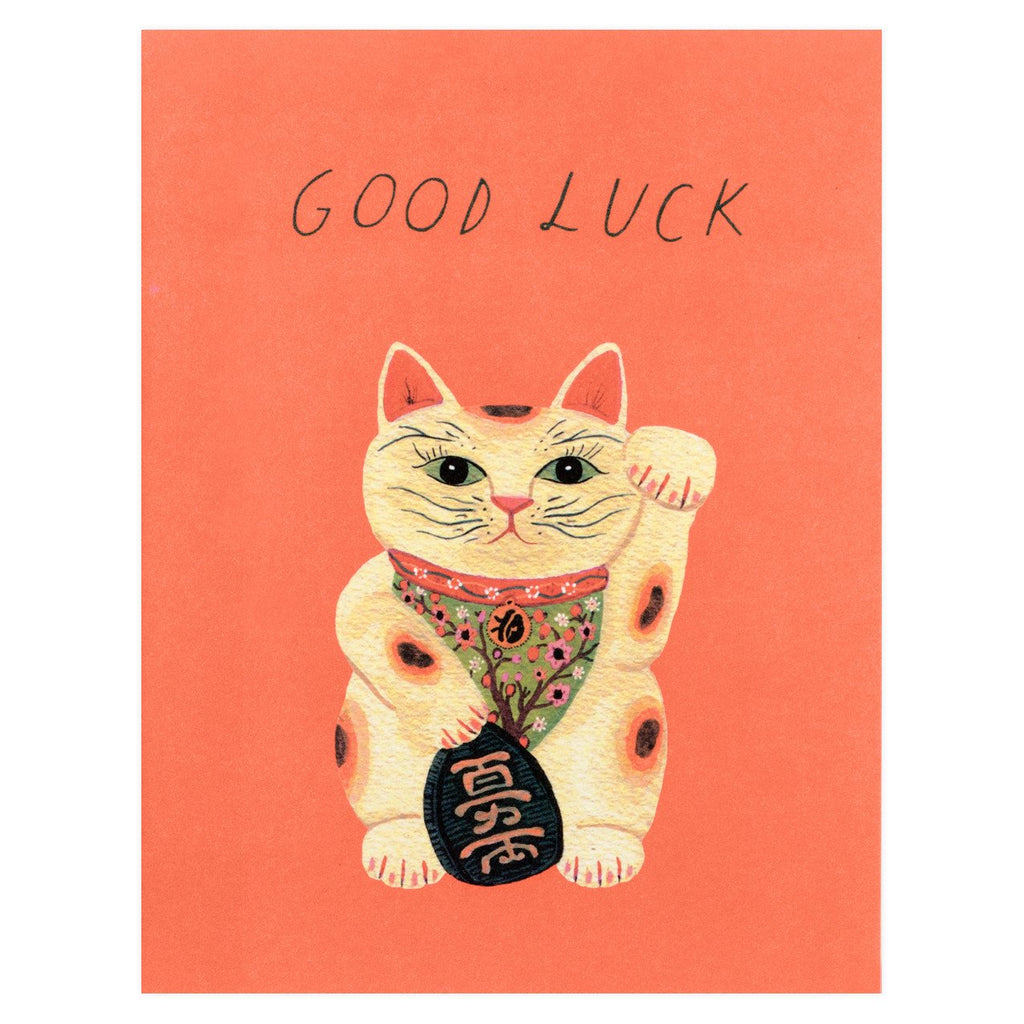 Good Luck Kitty Greeting Card By Red Cap Cards