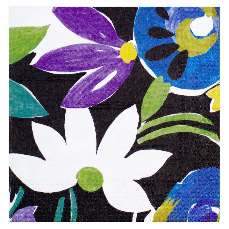 IDR Collier Campbell Grandiflora Blue Beverage Cocktail Napkin - GREER Chicago Online Stationery Shop