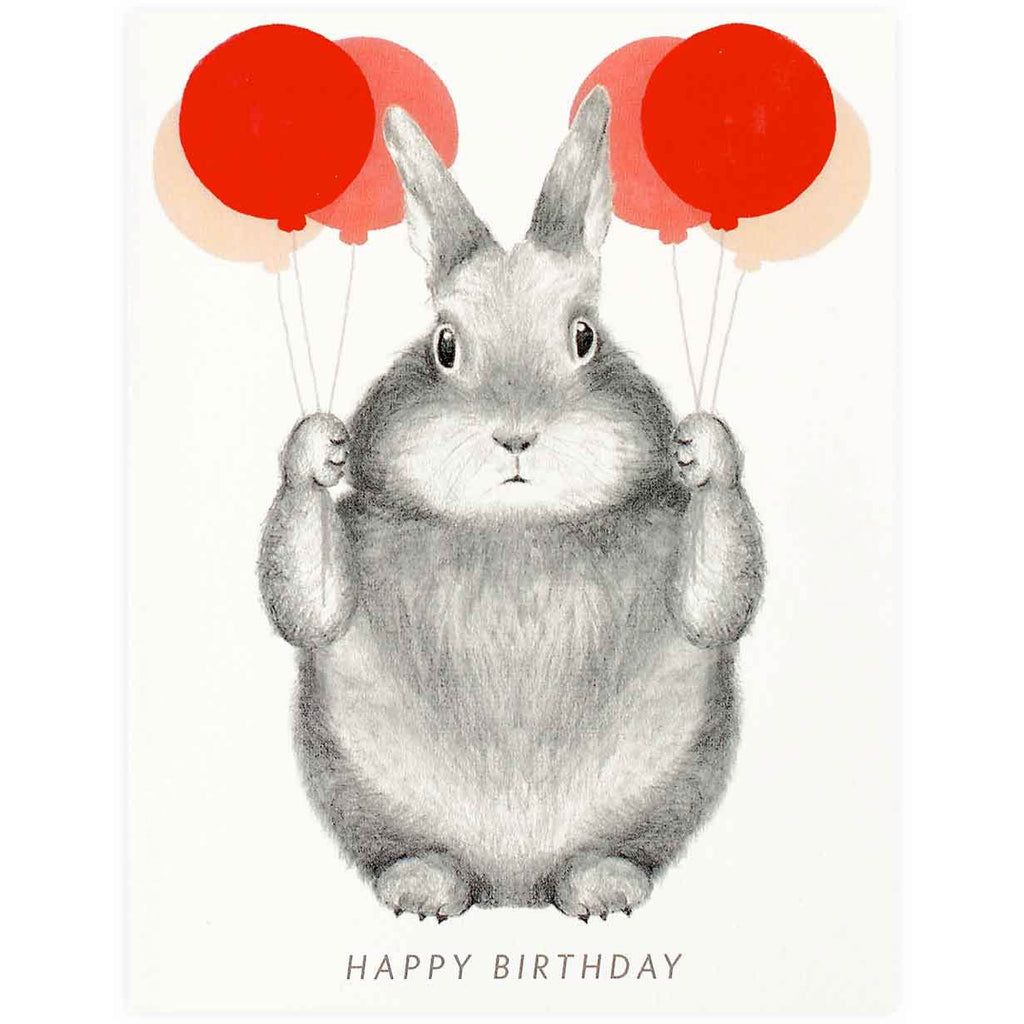 Graphite Bunny With Balloons - GREER Chicago Online Stationery