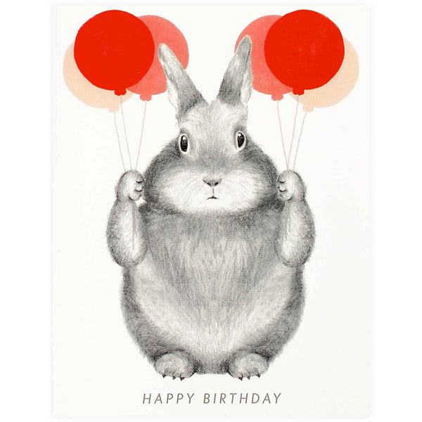 Graphite Bunny With Balloons By Dear Hancock
