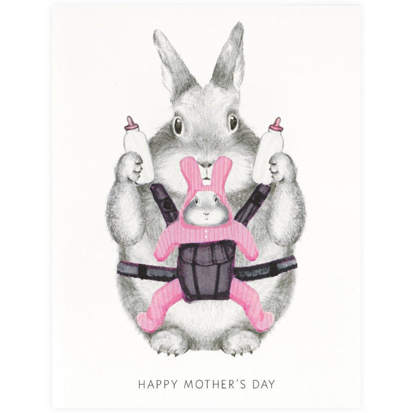 Graphite Bunny Mother's Day Card - GREER Chicago Online Stationery