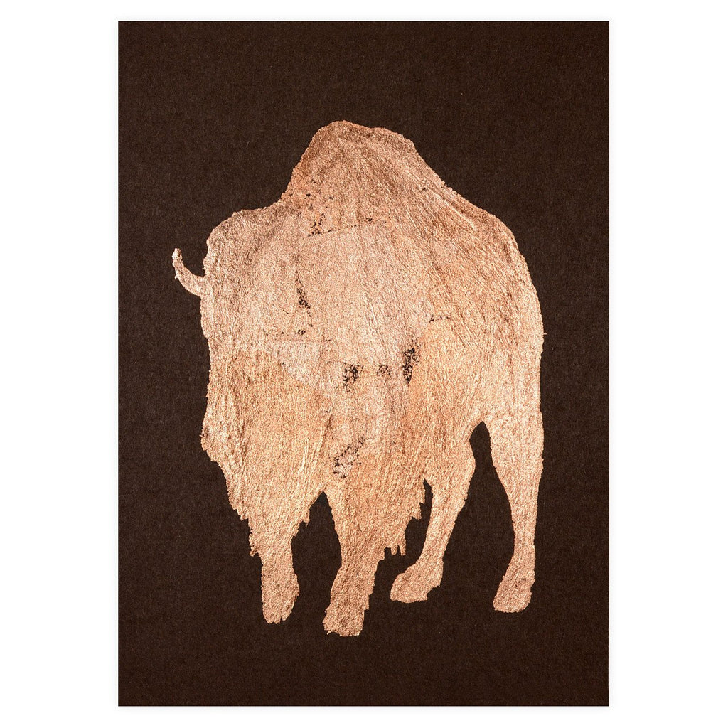 Bison Copper Leaf Greeting Card By Catherine Greenup - 1