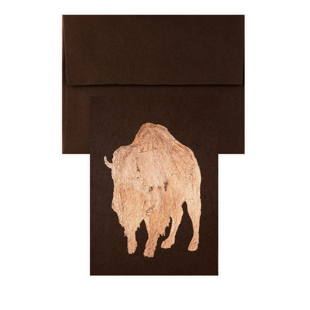 Bison Copper Leaf Greeting Card By Catherine Greenup - 2