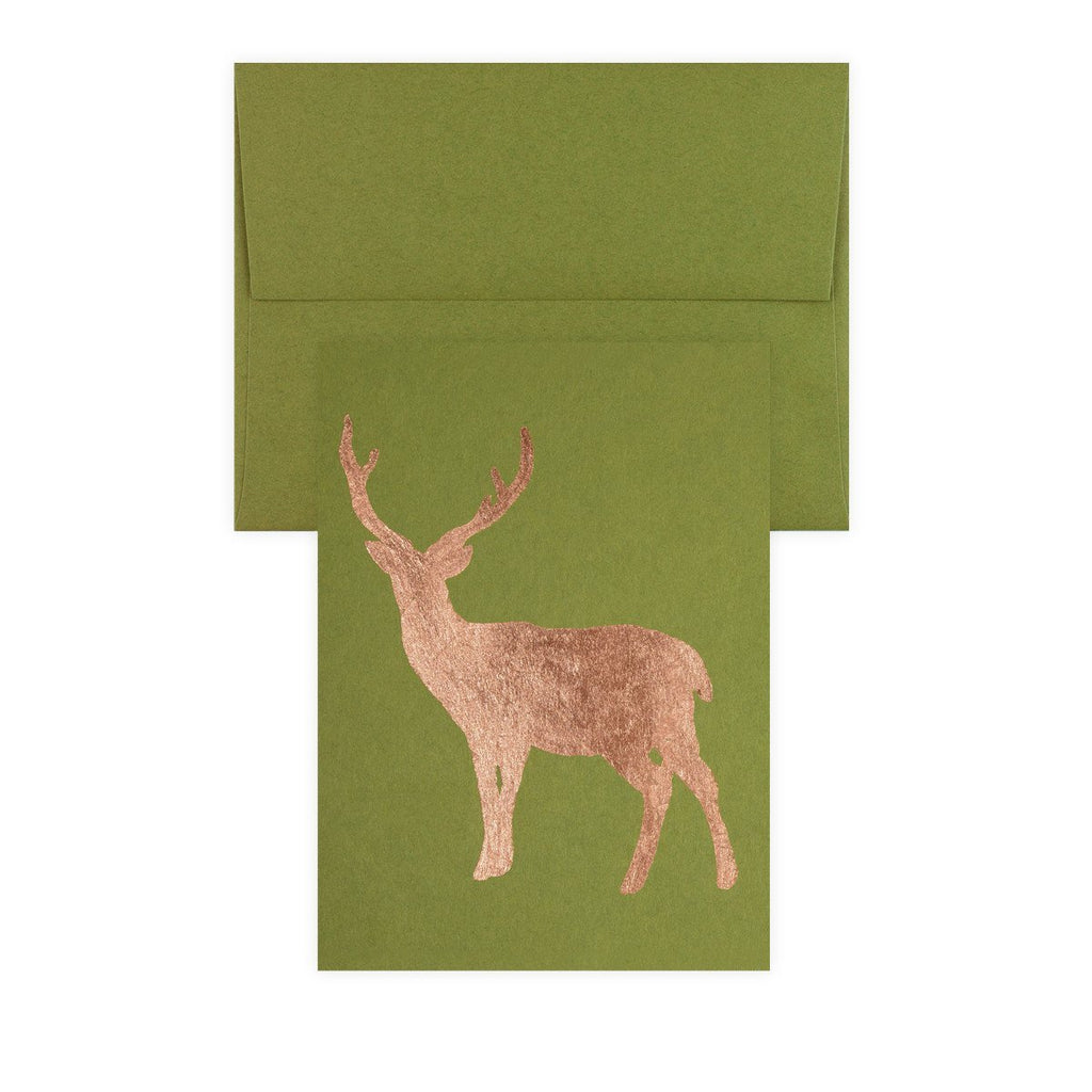 Buck Copper Leaf Holiday Card By Catherine Greenup - 2