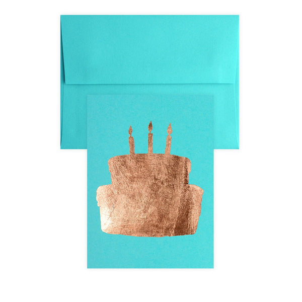 Cake Copper Leaf Greeting Card By Catherine Greenup - 1