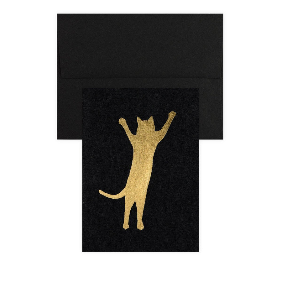 Catherine Greenup Cat Gold Leaf Greeting Card