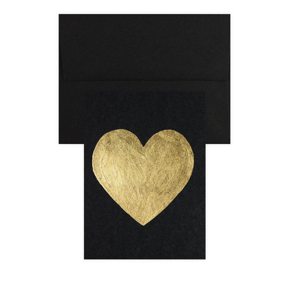 Catherine Greenup Heart Gold Leaf Greeting Card Black