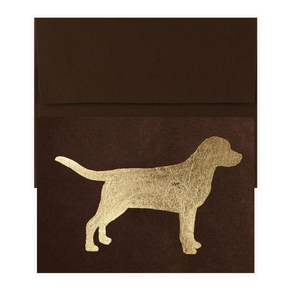 Labrador Gold Leaf Greeting Card By Catherine Greenup - 1