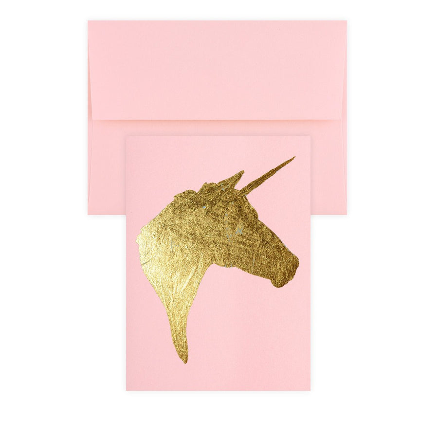 Catherine Greenup Unicorn Pink Gold Leaf Greeting Card