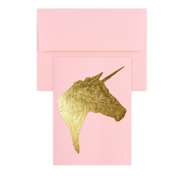 Unicorn Pink Gold Leaf Greeting Card By Catherine Greenup - 1