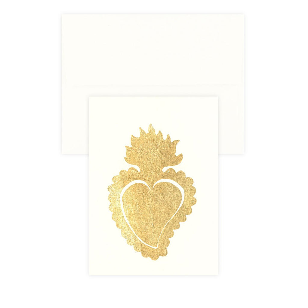 Sacred Heart Ivory Gold Leaf Greeting Card By Catherine Greenup - 2