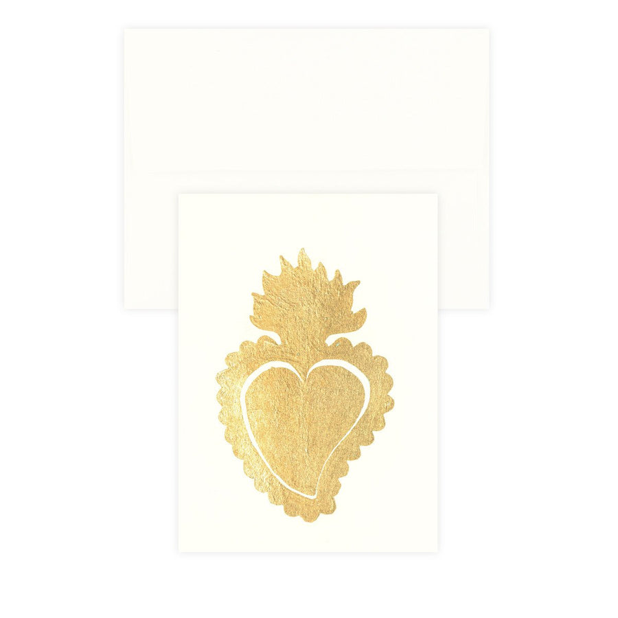 Sacred Heart Ivory Gold Leaf Greeting Card Catherine Greenup  - GREER Chicago