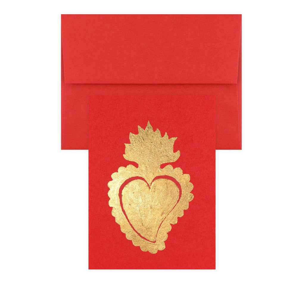 Sacred Heart Red Gold Leaf Greeting Card - GREER Chicago Online Stationery