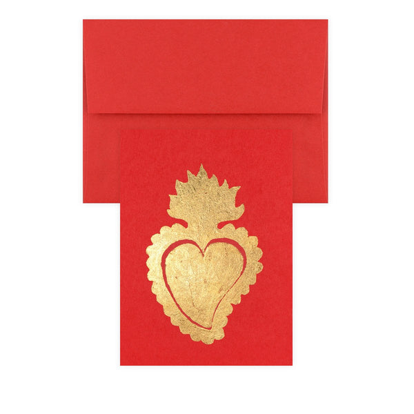 Sacred Heart Red Gold Leaf Greeting Card By Catherine Greenup - 1