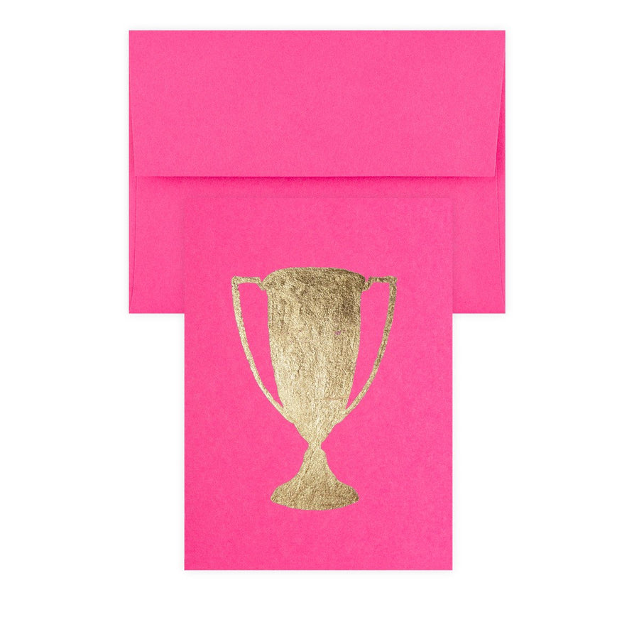 Catherine Greenup Trophy Fuchsia Gold Leaf Greeting Card - GREER Chicago Online Stationery Shop